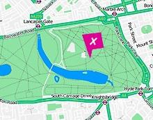 Location map of Hyde Park, London