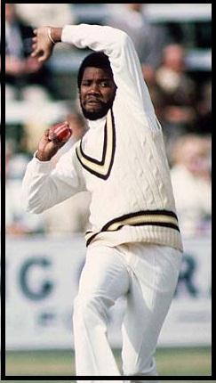 Malcolm Marshall bowling